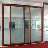 Aluwood pátio de alumínio deslizante e porta de elevação com vidro laminado e tela deslizante