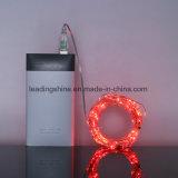 Lumières étoilées rouges de corde actionnées par USB des quirlandes électriques DEL pour le mariage de fête de Noël de jardin de patio de chambre à coucher