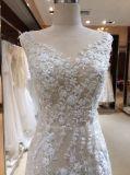 Vestido de casamento do laço da garganta da bainha V