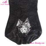 Lichtdurchlässiger schwarzer Rosen-mit Blumendruck-hoher Taillen-Kolben-Aufzug Panty