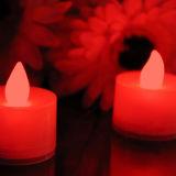 أحمر زخرفيّة [كرستمس] عديم لهب شمعة شاي ضوء