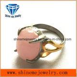 Anillo del acero inoxidable de la joyería de la alta calidad de la manera con la piedra rosada