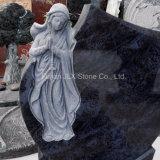 Lápide azul do granito de Bahama com escultura de Mary de Virgin