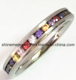 De Ring van CZ van het Roestvrij staal van de Ring van juwelen met de Steen van Kleuren