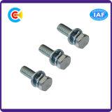 Vis à tête hexagonale en acier au carbone pour pièces de ventilateur avec rondelle / ressort