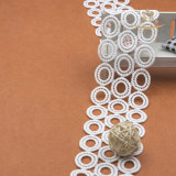 Hot -Selling 6.4cm de largura De qualidade superior bordado de flores de renda de seda de leite
