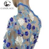 Merletto asciutto africano di ultimo stile dell'azzurro reale con i branelli e le pietre