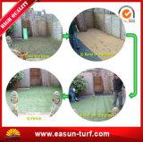 Hierba artificial plástica de la decoración ULTRAVIOLETA anti del jardín