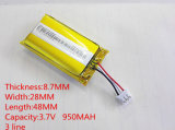 3.7V 950mAh 872848 Lithium Polymer Li-Po Li Ion Batteries rechargeables pour MP3 MP4 MP5 GPS PSP Mobile Bluetooth