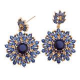 Серьга роскоши ювелирных изделий способа шикарным покрынная золотом голубая кристаллический