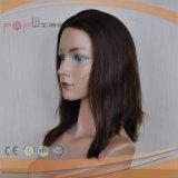 Keine Knall-schwarzes Haar-Frauen-voll überzogene Polyhand gebundene Perücke