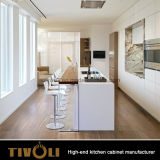 新しい台所考えの島Tivo-0086Vが付いている十分に開いた食器棚