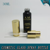 30 botella de agua de cristal de sellado caliente negra del aerosol de la niebla del envase cosmético del ml 1oz Matt