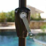 9 pi neufs de parapluie de patio de yard de plage de nuance en aluminium de Sun avec la manivelle et l'inclinaison Turquois