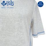 은 짧 소매 둥글 고리 알맞은 연약한 느슨한 바닥 줄무늬를 붙임 면 여자의 t-셔츠