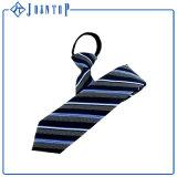 Gravata uniforme tecida das listras azuis seda clássica