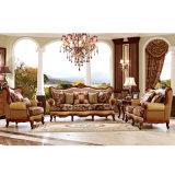 Sofás de cuero clásicos de la sala de estar del marco de madera de la fábrica china (HX-NC033)