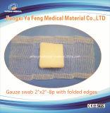 折られた端が付いている吸収性の医学の綿のガーゼの綿棒