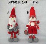 Decoración Santa y muñeco de nieve con Feliz Navidad y Set-2asst de regalo