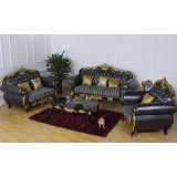 Sofà di cuoio con il blocco per grafici del sofà e la Tabella di legno (D929F)