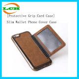 Caja abreviada del teléfono del cuero posterior de la ranura para tarjeta para iPhone7
