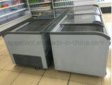 슈퍼마켓 큰 수용량 자동차는 곡선 유리 문을%s 가진 결합 섬 냉장고를 녹인다