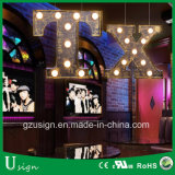 Grand signe extérieur décoratif Wedding de lettre d'ampoule de chapiteau