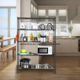Zwart Metaal 5 Rek van de Keuken van de Opslag van het Werktuig van de Rij het Regelbare