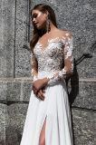 Верхняя часть Magnolia отклоняет шифоновые платья венчания с разделением