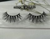 latigazos verdaderos naturales 100% de la piel del visión del visión 3D del pelo doble lujoso de las pestañas