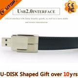 Regalo anular de cuero negro del mecanismo impulsor de la pluma del USB de la pistolera (YT-5111)