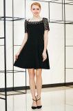 Твердое шикарное платье MIDI качания с шнурком Йорк и втулкой