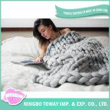 Cobertor tricotado manualmente estilo do acrílico de lãs 100% do Crochet da forma