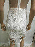 2017 elegante weiße Spitze-Kleid-Frauen-Dame-Großhandelsnachtreizvolles Partei-Kleid