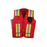 Veste 100% de advertência vermelha durável da segurança do poliéster com certificação de CSA Z96-09