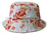 花プリント綿によって編まれる明白な布の余暇のバケツの帽子(TRBH14002)