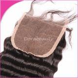 Естественные глубокие человеческие волосы Peruvian закрытия волны