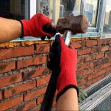 De zwarte Met een laag bedekte Handschoenen van het Latex Palm op 10 meten Rood Katoen Shell, eindigt de Kreuk