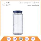 帽子およびわらが付いている16ozガラス石大工の飲む瓶