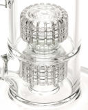 De dubbele Stereo Wetenschappelijke Rokende Waterpijp van het Glas van de Waterpijp Perc (S-GB-533)