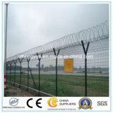 YのポストPVCかみそりの有刺鉄線が付いている上塗を施してある空港塀