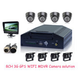 8CH D1 Car Mdvr mit 8PCS Waterproof Car Camera für Bus Video Monitoring, 3G WiFi Live Viewing