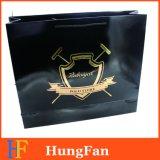 سوداء ورقيّة هبة حقيبة مع حارّ يختم صنع وفقا لطلب الزّبون علامة تجاريّة