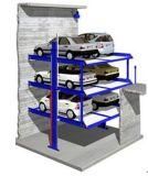6대의 차를 위한 구덩이에 있는 유압 주차 상승
