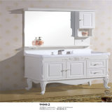 Vanité blanches en bois debout de salle de bains d'étage