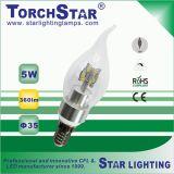 270 bulbo de la vela del ángulo de haz del grado E14 5W SMD LED