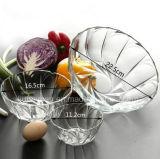 투명한 매끄러운 둥근 사발 샐러드 유리 그릇