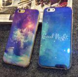Caixa clara azul do telefone móvel do espelho do laser da forma para o iPhone