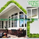 Janela de especialidade dividida em cores brancas, janela de madeira de alumínio em madeira de carvalho maciço / teca / pinho