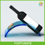 Support de bouteille de vin acrylique bleu de table Présentoir de bouteille de Lucite